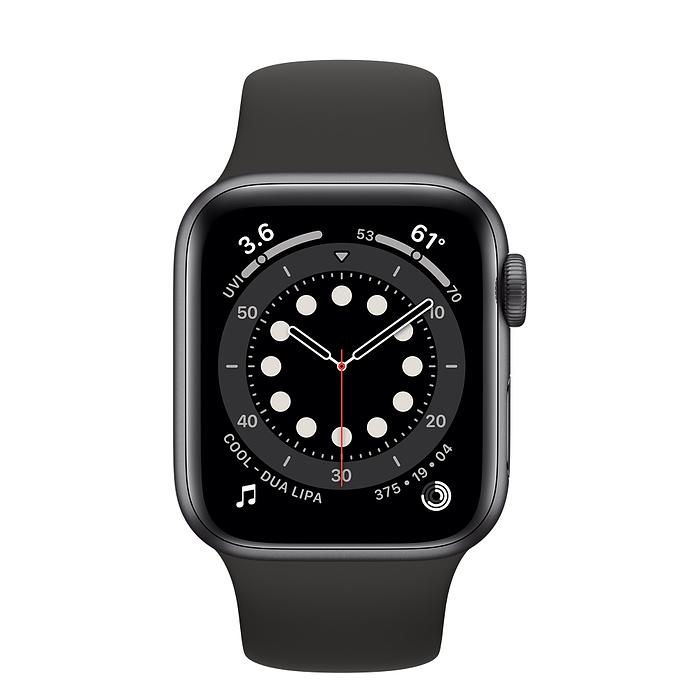 Watch Series 6 - Aluminium kast Spacegrijs 40mm, Sportbandje Zwart (Nieuw)
