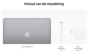 13-inch MacBook Pro (2020) - Spacegrijs - Intel Apple M1-chip met 8-core CPU en 8-core GPU - 8 GB RAM - 256 GB SSD - Twe...