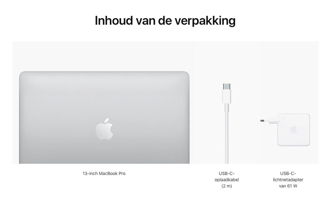 13‑inch MacBook Pro (2020) - Zilver - Apple M1‑chip met 8‑core CPU en 8‑core GPU - 8 GB RAM - 256 GB SSD - Twee (USB‑C)...