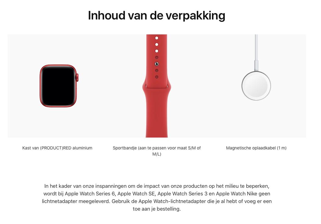 Watch Series 6 - Aluminium kast Rood 40mm, Sportbandje (PRODUCT)RED (Nieuw)