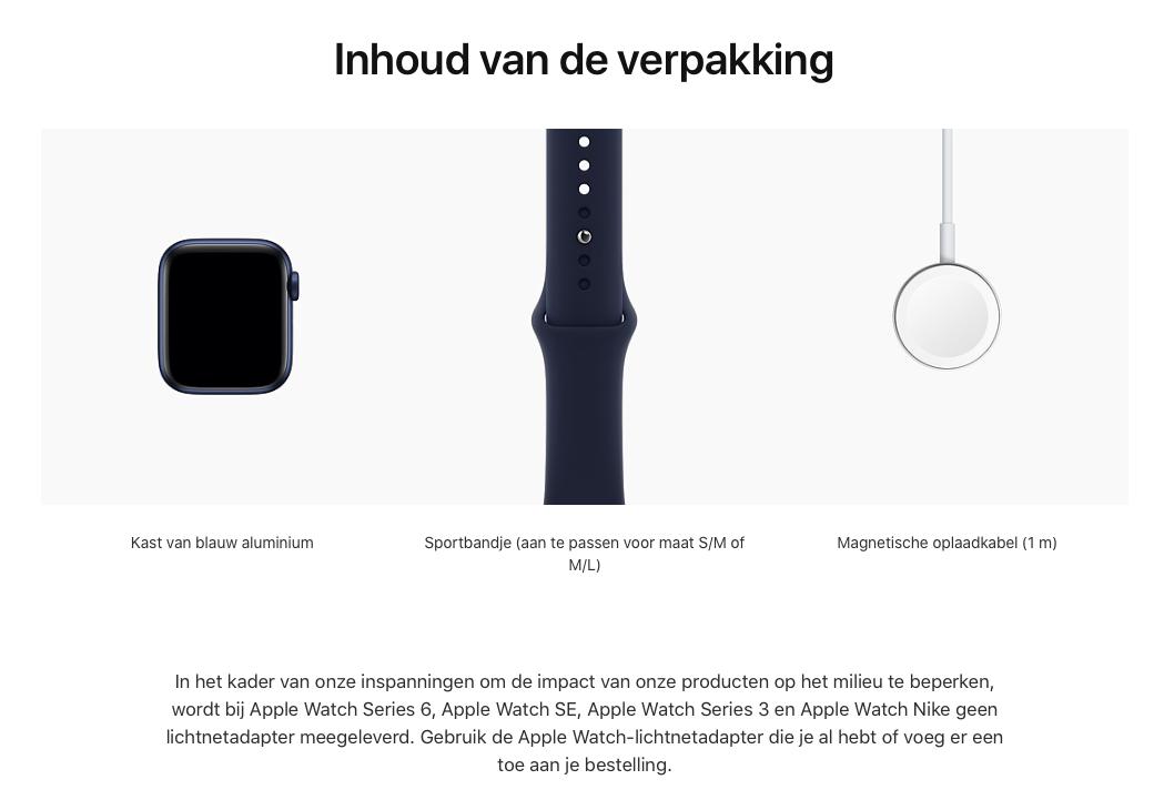 Watch Series 6 - Aluminium kast Blauw 40mm, Sportbandje Donkermarineblauw (Nieuw)