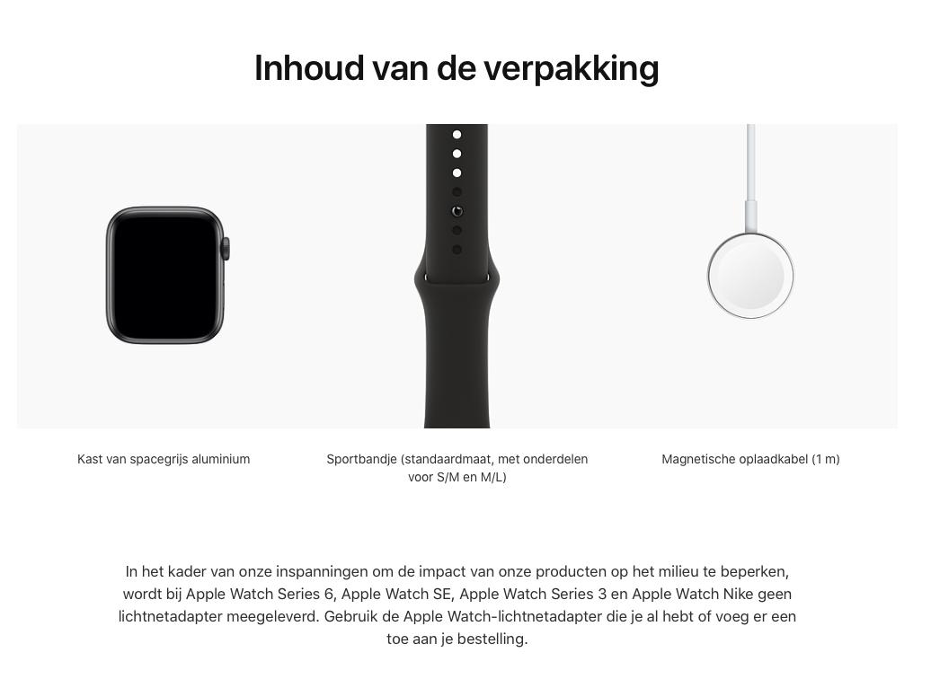 Watch Series 6 - Aluminium kast Spacegrijs 44mm, Sportbandje Zwart (Nieuw)