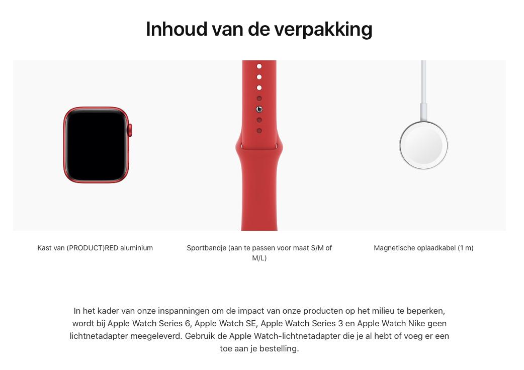 Watch Series 6 - Aluminium kast Rood 44mm, Sportbandje (PRODUCT)RED (Nieuw)