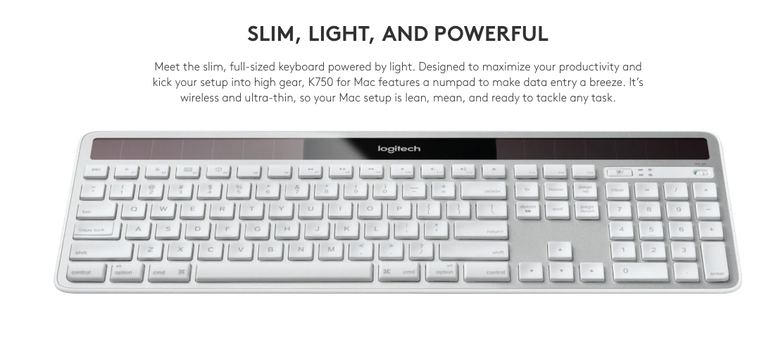 Logitech K750 Wireless Solar Keyboard for Mac (USA)