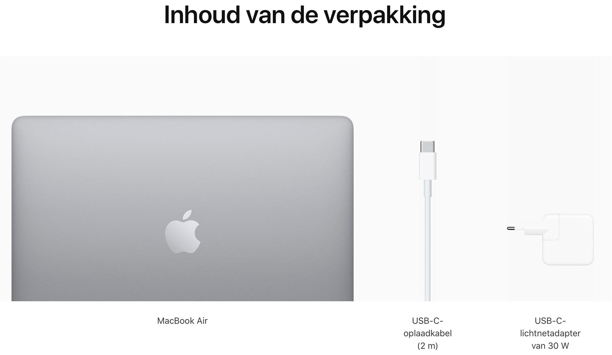 13-inch MacBook Air - Spacegrijs - Apple M1‑chip met 8‑core CPU en 7‑core GPU - 16 GB RAM - 250 GB opslag - Twee (USB‑C)...
