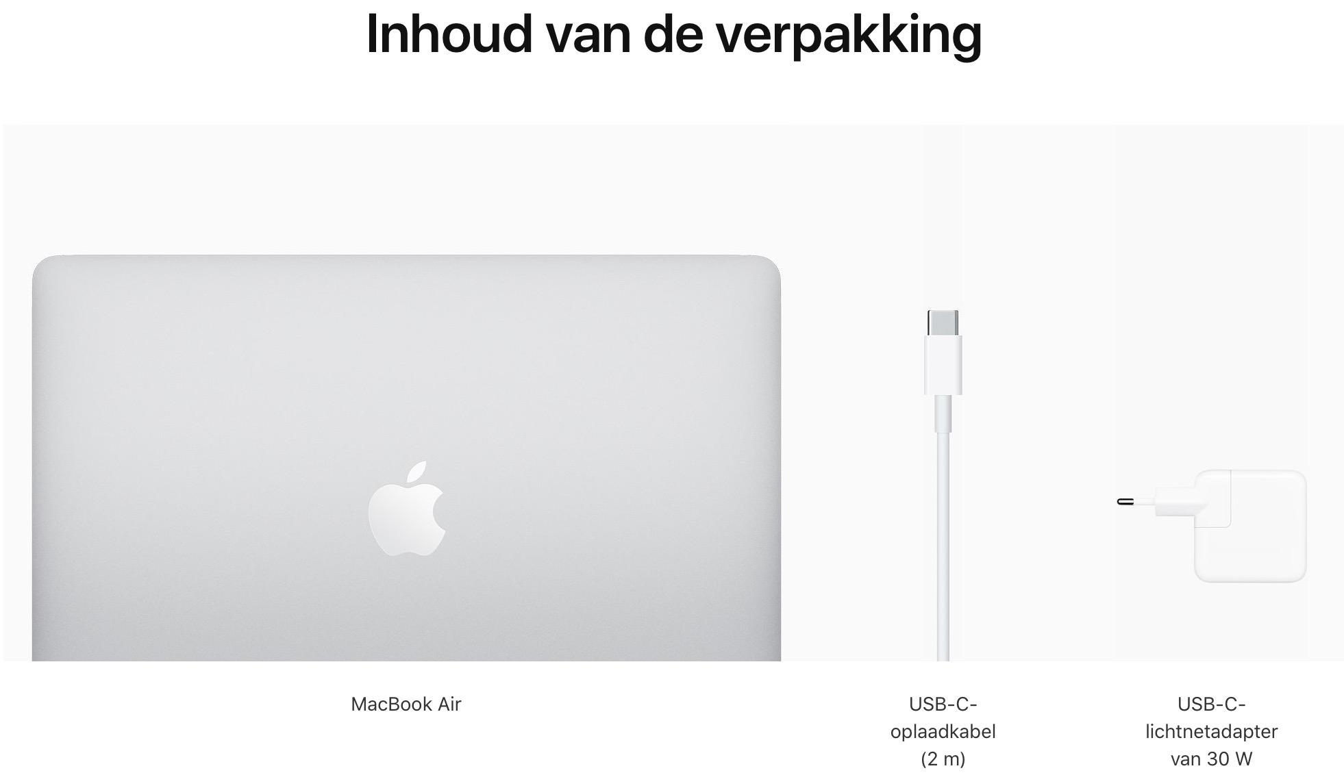 13-inch MacBook Air - Zilver - Apple M1‑chip met 8‑core CPU en 7‑core GPU - 8 GB RAM - 250 GB opslag - Twee (USB‑C) Thun...