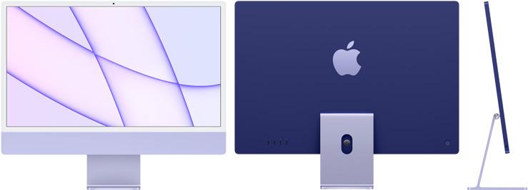 24‑inch iMac  (M1, vier poorten, 2021) - 256 GB - Paars (Nieuw)