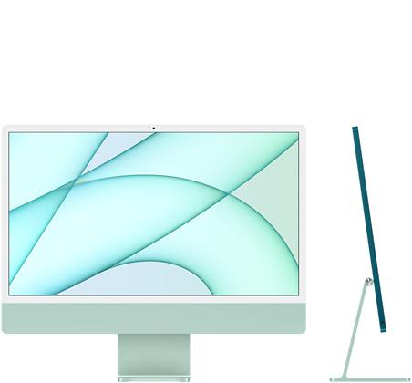 24‑inch iMac  (M1, vier poorten, 2021) - 512 GB - Groen (Nieuw)